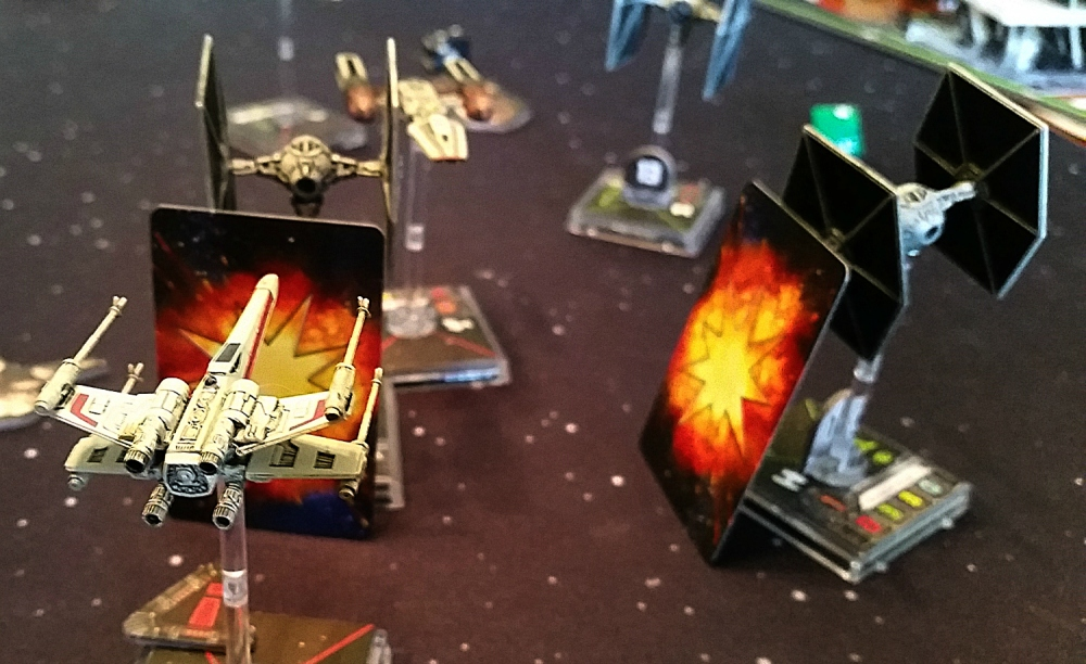 X-Wing destroying TIE Fighters Y0Wing fleeing Miniatures Game Heroes of the Aturi Cluster