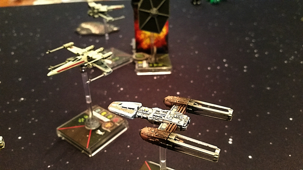Y-Wing destroys TIE Fighter with Twin Laser Turret Heroes of the Aturi Cluster.