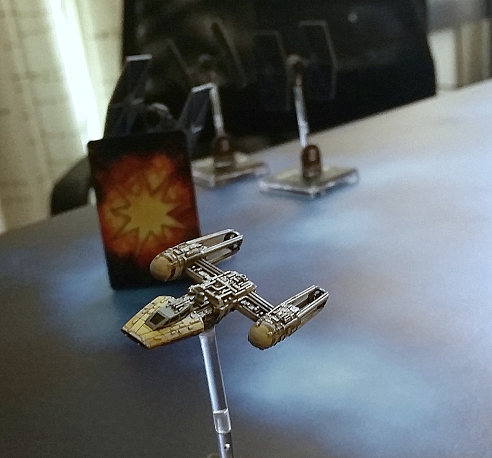 Magnet Y-Wing three TIE Fighters banking Heroes of the Aturi Cluster